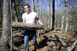 Soaking mushroom logs