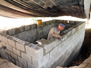 cistern block mortared walls