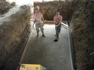 cistern leveled with sub base
