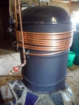 Rocket stove hot water coils exchanger