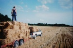 Collecting bales for cabin construction