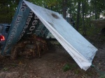 Billboard tarp wood shed